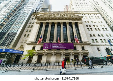 NEW YORK - NOV 14: New York Stock Exchange buiding at Wall Street on Nov 14, 2017 in New York, USA