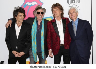 NEW YORK - NOV 15, 2016: Ronnie Wood, Keith Richards, Mick Jagger and Charlie Watts attend the Rolling Stones Exhibitionism opening at Industria November 15, 2016, in New York City.