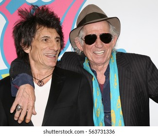 NEW YORK - NOV 15, 2016: Ronnie Wood and Keith Richards attend the Rolling Stones Exhibitionism opening at Industria November 15, 2016, in New York City.