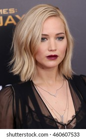 """NEW YORK - NOV 18, 2015:  Jennifer Lawrence attends the premiere of """"The Hunger Games: Mockingjay - Part 2"""" at AMC Lincoln Square on November 18, 2015 in New York City."""