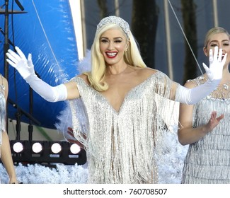 NEW YORK - NOV 21, 2017: Gwen Stefani tapes a performance for the Macy's Thanksgiving Day Parade in Bryant Park on November 21, 2017, in New York City.