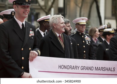NEW YORK - NOV 25 2015: Ray Mabus, US Secretary of the Navy (SECNAV) and Honorary Grand Marshal marches in the annual Americas Parade up 5th Avenue on Veterans Day in Manhattan.