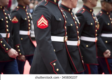 NEW YORK - NOV 25 2015: Close up of a Corporals patch as lines of U.S. Marine Corps personnel march in the annual Americas Parade up 5th Avenue on Veterans Day in Manhattan.