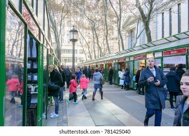 NEW YORK - NOV. 25, 2017: People enjoying the holiday market fair at Hyde Park on Black Friday