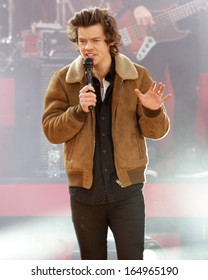 NEW YORK - NOV 26: Harry Styles of One Direction performs on 'Good Morning America' in Central Park on November 26, 2013 in New York City.