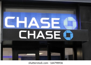 NEW YORK - NOV 27: An exterior view of a Chase Bank in New York City, on November 27, 2013. Chase has over 5,100 branches and over 16,000 ATMs nationwide.