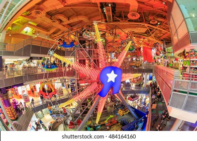 """NEW YORK - NOV 4: ferris wheel of Toys """"R"""" Us Store at Time Square on Nov 4, 2015 in New York, USA."""