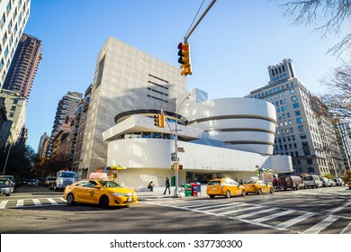 NEW YORK - NOV 4: The Solomon R. Guggenheim Museum of modern and contemporary art. Designed by Frank Lloyd Wright museum opened on October 21,1959. On November 4, 2015 in New York City, USA