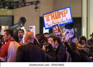 NEW YORK - NOV 5: The anti-Trump sign express anti Donald Trump during his rally at Rockefeller building on  Nov 5, 2015 in New York, USA.