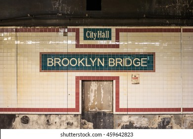 NEW YORK - NOV 6: The name of City Hall Brooklyn Bridge Station on tiles at lower Manhattan on  Nov 6, 2015 in New York, USA.