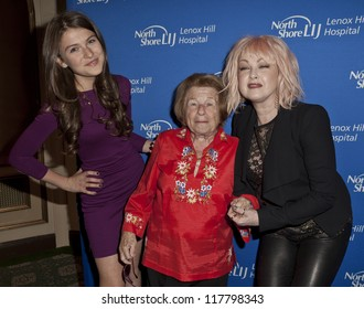 NEW YORK - NOVEMBER 05: Elle Winter, Dr. Ruth Westheimer, Cyndi Lauper attend Lenox Hill hospital Autumn ball, award ceremony and fundraising to hurricane SAndy victims on November 05, 2012 in NYC