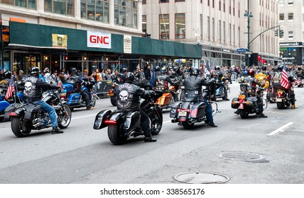 New York, New York - November 11, 2015: Bikers rides up 5th Avenue during the Veterans Day Parade in New York City in 2015.