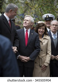NEW YORK - NOVEMBER 11 2015: Mayor Bill De Blasio and Ray Mabus, US Secretary of the Navy (SECNAV) at the Eternal Light Monument in Madison Square Park before the Americas Parade on Veterans Day.