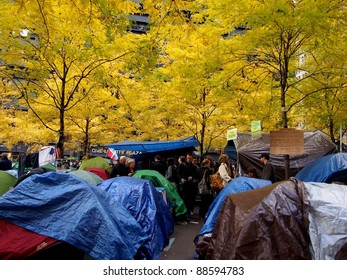 NEW YORK - NOVEMBER 11: Protestors live in a tent village during the Occupy Wall Street movement, November 11, 2011 in New York City, NY. The protest began in Zuccotti Park on September 17, 2011.