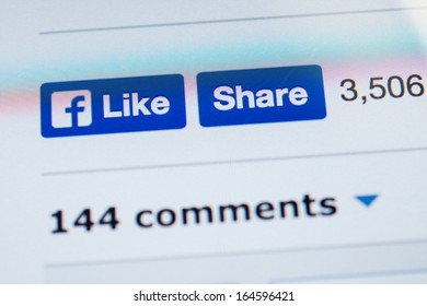 NEW YORK - NOVEMBER 13: Facebook introduced a new design for Like and Share buttons on 6 November 2013 . Like button no longer sports famous thumbs-up, but instead brandishes the Facebook lowercase f