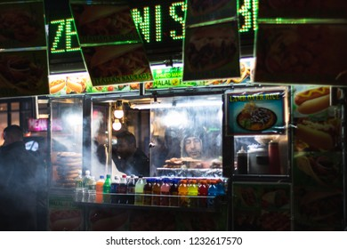 New York, New York - November 16, 2018 : One of the many food stands lining Manhattan's city streets near Penn Station.