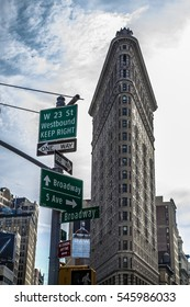 NEW YORK - NOVEMBER 18, 2016, Flatiron is a building located in the center of Manhattan, a triangular block formed by Fifth Avenue, Broadway, and East 22nd Street, with 23rd Street.