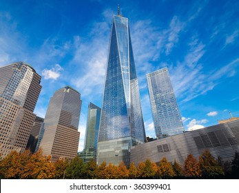 NEW YORK - November 2, 2015 : Freedom Tower in Lower Manhattan, One World Trade Center, one of the primary building of the new World Trade Center complex.