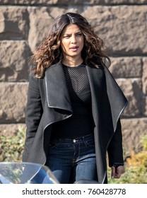 NEW YORK - NOVEMBER 21: Priyanka Chopra pictured on location in Harlem filming 'Quantico' on November 21, 2017 in New York City.