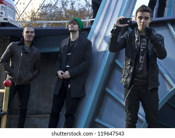 NEW YORK - NOVEMBER 22: (L to R) Singers Max George, Jay McGuiness, Nathan Sykes of The Wanted attend the 86th Annual Macy's Thanksgiving Day Parade on November 22, 2012 in New York City.