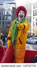 NEW YORK - NOVEMBER 22: Ronald McDonalds character rides on float at the 86th Annual Macy's Thanksgiving Day Parade on November 22, 2012 in New York City.