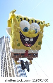 NEW YORK - NOVEMBER 22: SpongeBob SquarePants balloon is flown at the 86th Annual Macy's Thanksgiving Day Parade on November 22, 2012 in New York City.