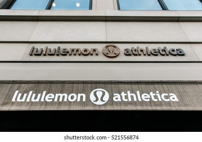 New York, November 23, 2016: The store sign and an awning of a Lululemon Athletica store in Manhattan.