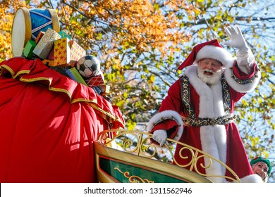 New York, November 23, 2017: Santa is traditionally riding the last float of the Thanksgiving parade.