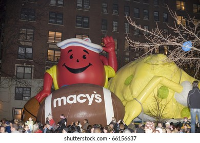 NEW YORK, NEW YORK - NOVEMBER 24:  Giant balloons get inflated the night before the Macy's Thanksgiving parade.  Taken November 24, 2010 in New York City.