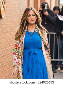 NEW YORK - NOVEMBER 28, 2016: Sarah Jessica Parker seen arriving at ABC Studios to make an appearance on 'The View' TV Show on November 28, 2016 in New York City.