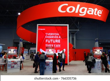 NEW YORK - NOVEMBER 28, 2017: Colgate booth at the Greater NY Dental Meeting in New York. Colgate is an oral hygiene product line of toothpastes, toothbrushes, mouthwashes and dental floss