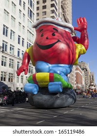 NEW YORK - NOVEMBER 28: Kool-Aid Man balloon flown at the 87th Annual Macy's Thanksgiving Day Parade on November 28, 2013 in New York City.