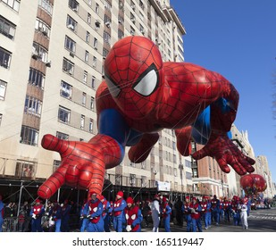 NEW YORK - NOVEMBER 28: Spiderman balloon is flown low because of weather condition at the 87th Annual Macy's Thanksgiving Day Parade on November 28, 2013 in New York City.