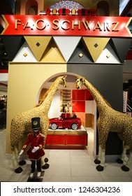NEW YORK - NOVEMBER 29, 2018: Inside of a  newly reopened the FAO Schwarz flagship store at Rockefeller Plaza in Midtown Manhattan