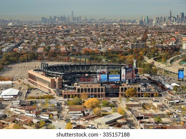 NEW YORK - NOVEMBER 3, 2015: Citi Field in Queens New York City awaits the crowds for the next game of the New York Mets on November 3, 2015 aerial view