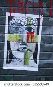 NEW YORK - NOVEMBER 3, 2015: Street art at  Lower East Side in Manhattan