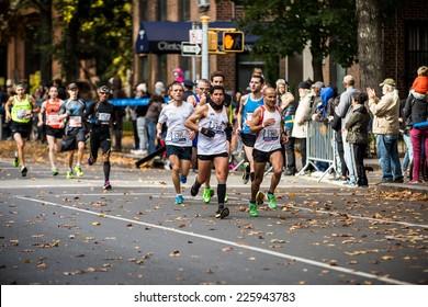 NEW YORK - NOVEMBER 3: Athletes running the 2013 NYC Marathon for Professional Men category on November 3, 2013 in New York.