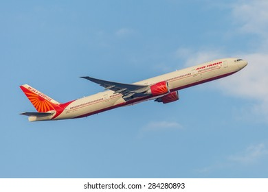 NEW YORK - NOVEMBER 3: Boeing 777 Air India takes off from JFK Airport in New York, NY on November 3, 2013. Air India is the flag carrier and the third largest airline in India.