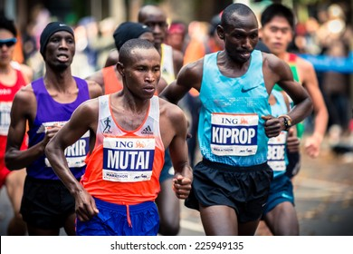 NEW YORK - NOVEMBER 3: MUTAI Geoffrey of Kenya and KIPROP Jackson of Uganda competing for the 2013 NYC Marathon in Professional Men category on November 3, 2013 in New York.