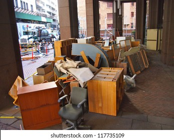 NEW YORK, NOVEMBER 3: A pile of waterlogged office furniture sits on a sidewalk in New York City, November 3, 2012. Lower Manhattan was seriously damaged by flooding from Hurricane Sandy.