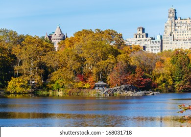 NEW YORK - NOVEMBER 4: Fall foliage in Central Park with Manhattan buildings in background on November 4, 2013. The park is located in the center of Manhattan and is one of the biggest parks in USA.