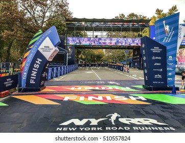New York, November 5, 2016: The finish of the 2016 New York City Marathon one day before the event.