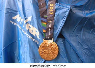 NEW YORK - NOVEMBER 5, 2017: 2017 New York City Marathon finisher medal in Manhattan. The TCS New York City Marathon is one of the world's most iconic races