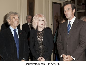 NEW YORK - NOVEMBER 5: Elie Wiesel, Cyndi Lauper, Bob Woodruff attend Lenox Hill hospital Autumn ball, award ceremony and fundraising to hurricane SAndy victims in Waldorf Astoria on Nov 5 2012 in NYC