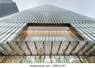 NEW YORK, NEW YORK - NOVEMBER 8, 2014: Freedom Tower in Lower Manhattan. One World Trade Center is the tallest building in the Western Hemisphere and the third-tallest building in the world.