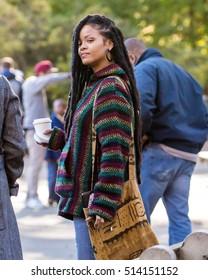 NEW YORK - NOVEMBER 9: Rihanna is seen on set of 'Ocean's 8' in Central Park on November 9, 2016 in New York City.