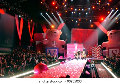 NEW YORK - NOVEMBER 9: Victoria's Secret Fashion runway stage wide angle view during the 2010 Victoria's Secret Fashion Show on November 9, 2005 at the Lexington Armory in New York City.