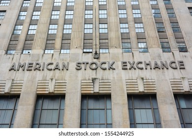 NEW YORK, NY - 05 NOV 2019: The American Stock Exchange (AMEX) was once the third-largest stock exchange in the United States.