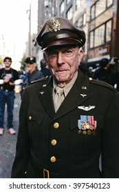 New York, NY -  11/15/2015: A portrait of a decorated World War 2 Veteran at the Americas Parade in NYC.