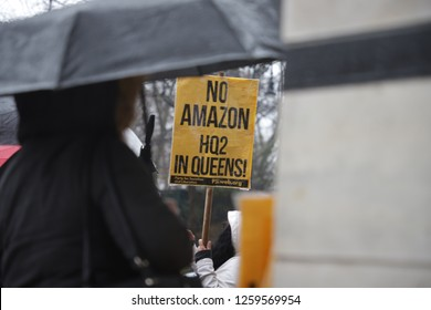 "New York, NY - 12/16/2018: ""No New Amazon Home in Queens"" rally outfront of the Gracie Mansion."